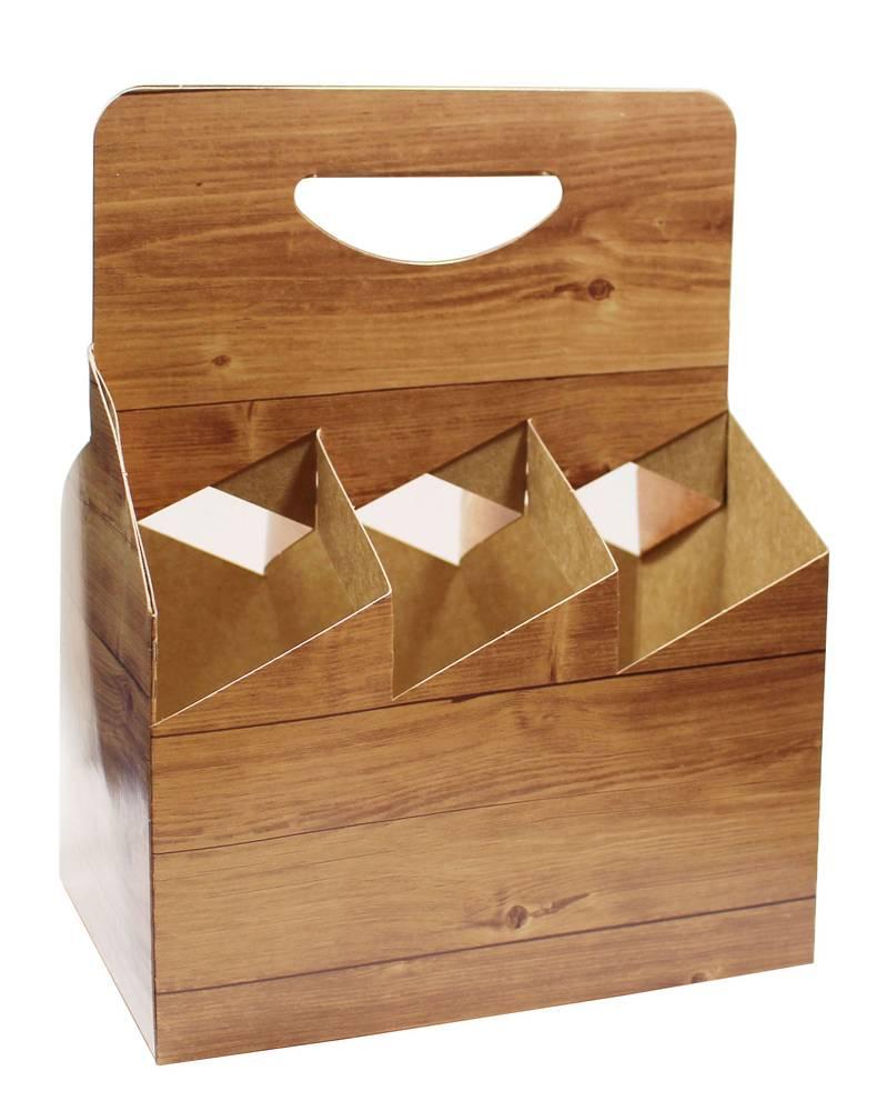 verpackungen für alle - flaschenträger-karton 6er holz für 6x500ml